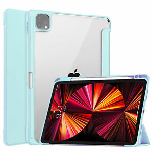 For iPad Pro 11'' 2021 Air 4 10.9'' Leather Case Acrylic Clear Flip Stand Cover