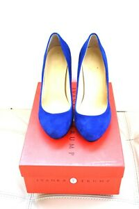 Med Blue Suede Heel Ladies Shoes by Ivanka Size 7 M