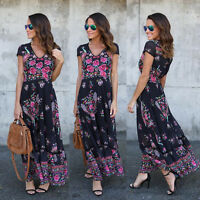 Womens Holiday Sleeveless Ladies Maxi Long Summer Print Beach Dress Size 6-14