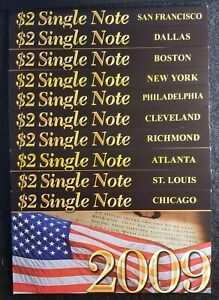 2003 $2 single Note Series 10 note district set all ser#'s start w/2009 BEP UNC