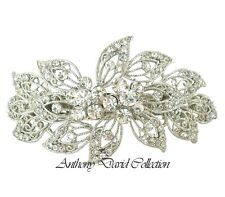 Anthony David USA Silver Crystal Hair Accessory Clip with Swarovski Crystals