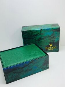 Luxury Green and Yellow Rolex Watch Box New with carton sleeve, outer and inner
