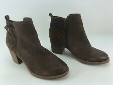 "Sperry ""Ambrose"" Brown Leather Ankle Boots Moto Suede Heel  Booties Size 6.5"