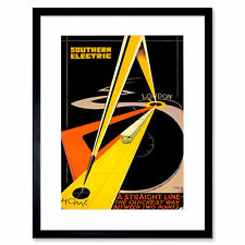 Travel Train Railway Compasses Point Abstract London UK Framed Print 12x16 Inch
