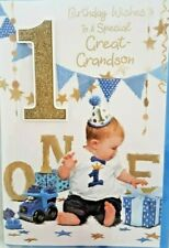GREAT GRANDSON 1st BIRTHDAY CARD AGE 1 ~ CUTE DESIGN QUALITY CARD & NICE VERSE