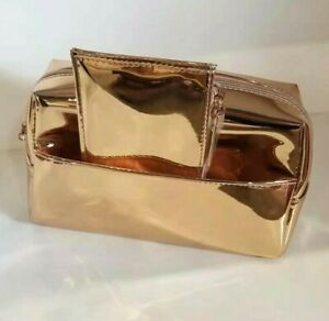 20 X LANCOME GLOSSY METALLIC BROWN MAKEUP COSMETIC PURSE CLUTCH BAG 8*6*2.5 INCH