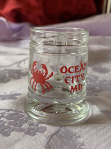 Beer Mug Shot Glass - Ocean City MD RED CRAB Shot Glass 2 1/2 Inches High