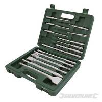 OFFER! SDS PLUS + MASONRY DRILL & STEEL CHISEL SET 15 PCE PIECE IN STURDY CASE
