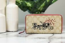 Coach 91571 Signature Canvas Leather Horse and Carriage Accordion Zip Wallet