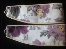 "LAURA ASHLEY PEONY GARDEN AMETHYST 1pr CURTAIN  Tie Backs 26"" Piped NEW piped"