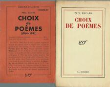 RARE EO 1941 SERVICE DE PRESSE + PRIÈRE D'INSÉRER PAUL ELUARD : CHOIX DE POÈMES