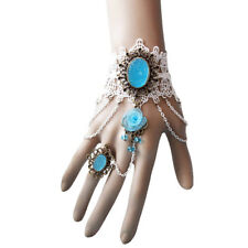 Bracelet Ring Women Gothic Bridal White Lace Flower Rhinestone Chain Drop Set