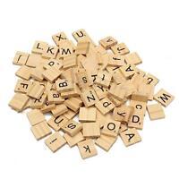100 Holz Alphabet Fliesen Schwarz Buchstaben & Zahlen für Handarbeiten Ie UK