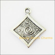 6 New Square Flower Clouds Tibetan Silver Tone Charms Pendants 27.5x32.5mm