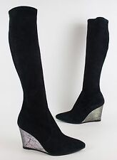 Stuart Weitzman Glitter Wedge Heel Stretch Black Suede Boots US 9.5 $695