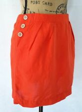 Banana Republic 2 Petite Sm Skirt Short Bright Orange Linen Blend Mini Pocket LN