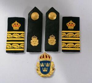 Schweden Abzeichen Dienstgrad Metall Badge Shoulder Boards Epaulettes Sweden