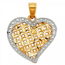 Women's Vintage Pendant 14k Solid Yellow & White Gold Two Tone Heart Charm