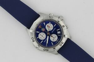 Tag Heuer Aquaracer Watch Mens CAF1112 Silver Blue Silver Rubber Chronograph