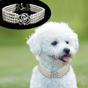 Fancy Jewelry Pearls Dog Collar Necklace Crystal Yorkie Cat Wedding Party Collar