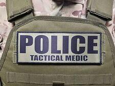 "3x8"" POLICE TACTICAL MEDIC OD Green Black Hook Morale Raid Patch SWAT LEO Badge"