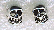 "925 Sterling Silver Small Skull Stud Earrings 1/4"""