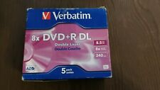 Verbatim 8x DVD+R DL Dual Layer 8.5GB - 5 Pack in Jewel Cases - New Old Stock