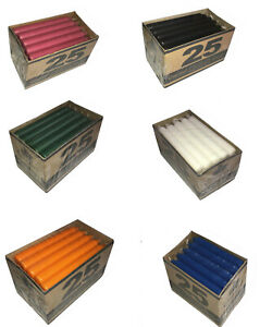 TAPERED DINNER CANDLES NON-DRIP Window Box Candles PARAFFIN WAX Mutiple Colour