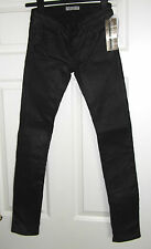 EACH OTHER Paris(£210RRP)Ladies Leather Look Black Jeans - Size 24 - Skinny-BNWT