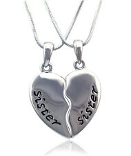 Sister Sister Engraved Best Friend Forever BFF Heart Pendant Necklace  n2081s