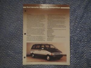 1986 FORD AEROSTAR WAGON VS COMPETITION DEALER ALBUM COMPARISON BROCHURE