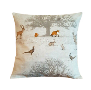 "14"" 16"" 18"" New Cushion Cover Tatton Autumn Wildlife Beige Grey Orange Design"