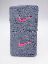 "Nike Swoosh Wristbands Dove Grey/Pink Pow 3"" Men's Women's"
