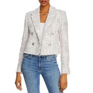 Aqua Womens White Cropped Fringe Dressy Tweed Jacket Blazer XS BHFO 6657