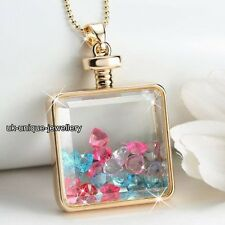 Mini-Hearts Crystal Gold Necklace Valentines Xmas Gifts For Her Girlfriend Women