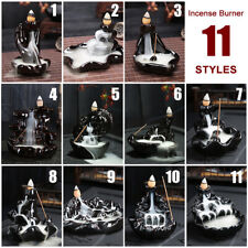 Waterfall Porcelain Backflow Ceramic Cone Incense Burner Holder Black 5 Style