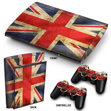 PS3 SuperSlim PlayStation 3 Skin Stickers PVC for Console & 2 Pads Union Jack PP