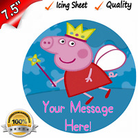 """PEPPA PIG CHILDRENS Edible Icing Cake Topper 7.5"""" Round Pre-cut"""