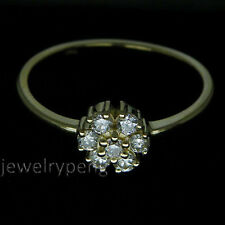 7 stone Round Solid 14k Yellow Gold Pave Full Cut Diamond Wedding  band Ring