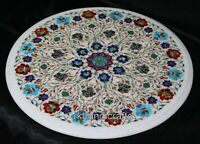 Round Marble Sofa Table Top Amazing Coffee Table Inlay with Shiny Gemstones Work