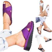 Womens Flip flops Toe Correction Platform Sandal Leather Slippers Beach Shoes 50