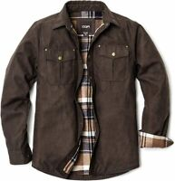 CQR Men's Flannel Long Sleeved Rugged Plaid Cotton Brushed, Brown, Size 3.0 uxjP