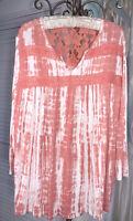 NEW Plus Size 2X Orange Coral Shirt Tye Dyed Top Lace Crochet Blouse