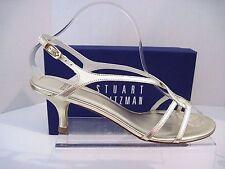 Stuart Weitzman Reversal Gold Supple Kid Leather Strappy HEELS Sandals 8 N 2a