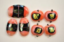 Lot of 7 Jewelry Orange Colors  Gold Dichroic  Fused Glass Cabochons Handmade