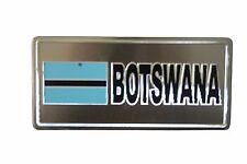 BOTSWANA  FLAG-SILVER LICENSED STICKER FLAG PLATE..SIZE: 6 X 3 INCH