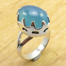 Silver Plated Economic Jewellery Brand New Claw Ring Size 6 Rare Blue Chalcedony