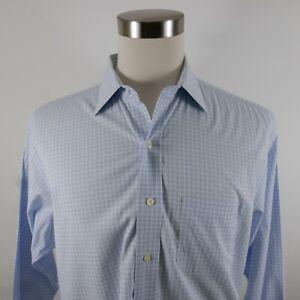 Brooks Brothers Mens Non Iron Slim Fit LS Button Up Blue Plaid Dress Shirt 17-34