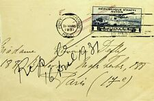 REPUBLIC D'HAITI 1931 AIRMAIL VALUE ON REDIRECTED COVER TO FRANCE