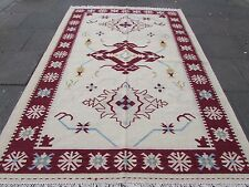 Old Traditional Hand Made Oriental Indian Kilim Beige Grey Wool Kilim 300x200cm